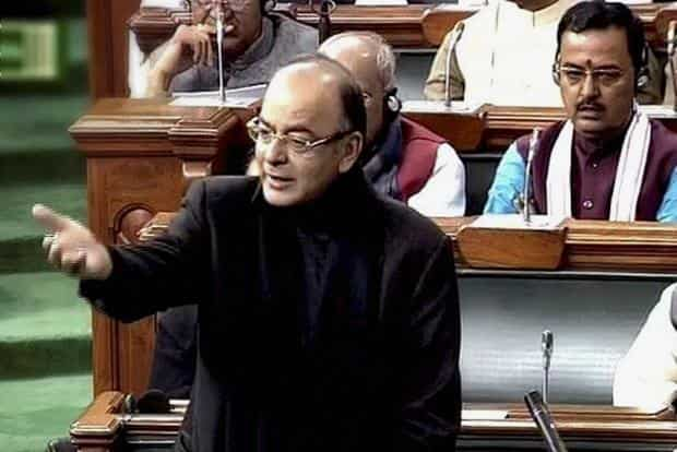 Union finance minister Arun Jaitley speaks in Lok Sabha during winter session of Parliament in New Delhi on Tuesday. Photo: PTI