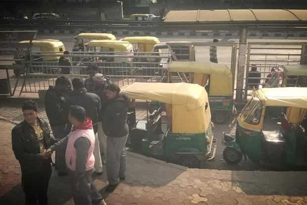 Auto rickshaws seen near a bus stand. Many relied on public transport on day 2 of the plan.