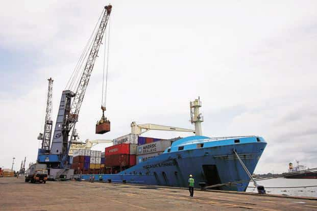 A Maersk Ronneby container ship at Cochin Port. Photo: Reuters