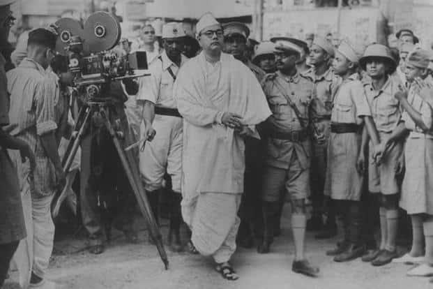 A file photo of Netaji Subhas Chandra Bose (centre). Photo: Hindustan Times