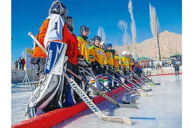 Women line up for a game in Leh. Photo: The Hockey Foundation