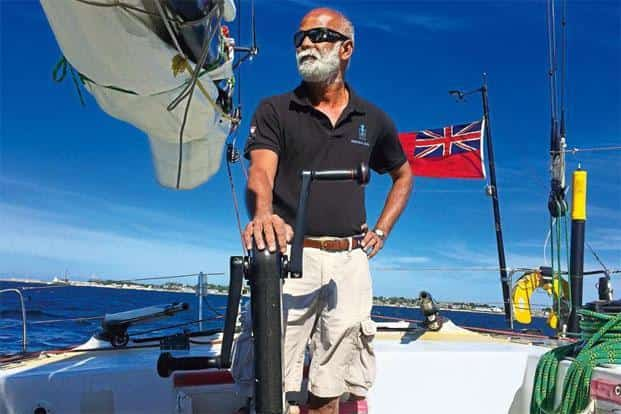 Dilip Donde on Greypower, a boat he sailed with his mentor, Sir Robin Knox-Johnston, in a transatlantic race in 2015.