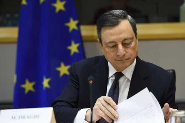 ECB president Mario Draghi addresses the Committee on Economic and Monetary Affairs at the European Parliament in Brussels on Monday. Photo: AFP
