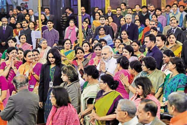 Prime Minister Narendra Modi at the valedictory session of the National Conference of Women Legislators. Currently, out of 543 MPs in the Lok Sabha, only 62 are women. In the Rajya Sabha, there are 31 women out of 245 MPs. Photo: PTI