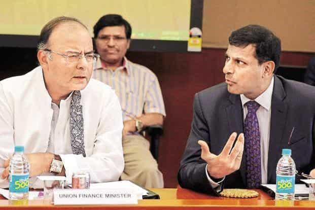 A file photo of finance minister Arun Jaitley and RBI governor Raghuram Rajan (right). Photo: Reuters