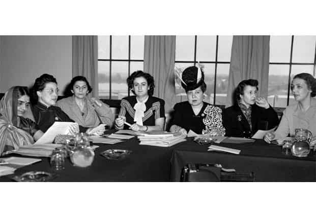 Hansa Jivraj Mehta (left) represented India at the meeting of the sub-commission on the status of women at Hunter College in New York in 1946. Photo: UN Photo
