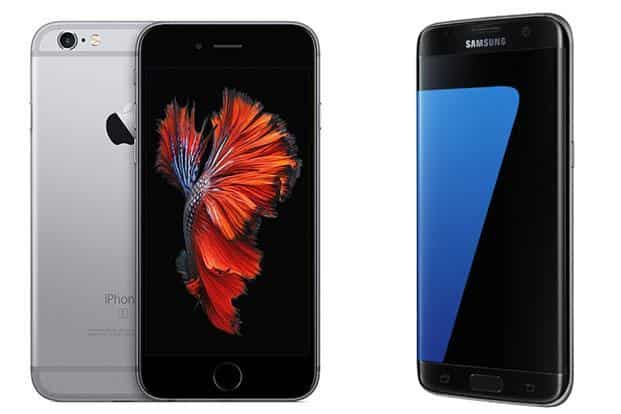 Apple iPhone 6s Plus (left) and Samsung Galaxy S7