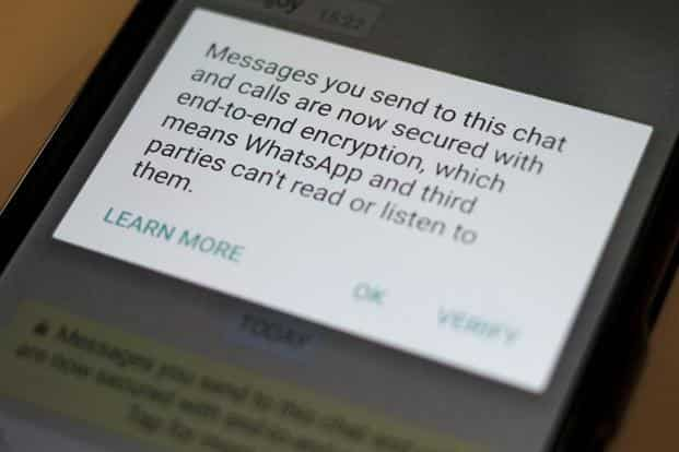 A security update message is seen on a WhatsApp message in this illustration photo on 6 April. Photo: Reuters