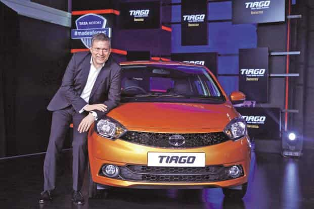 Tata Motors chief executive Guenter Butschek with the Tiago in Mumbai on Wednesday. Photo: Reuters