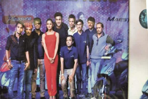 Vinayak Sharma (third from right) with Alia Bhatt and Ranbir Kapoor at the Hero MotoCorp party in Mumbai.