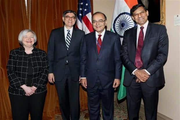 Arun Jaitley with US secretary of treasury, Jacob J. Lew, US Federal Reserve chair Janet Yellen and Raghuram Rajan, governor, RBI, at a bilateral meet in Washington DC. Photo: AP/PTI