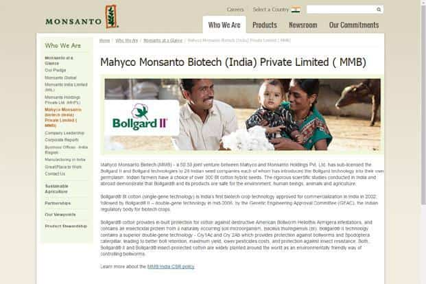 MMBL, a joint venture between Mahyco Seeds Ltd and Monsanto Co., licenses its patented Bollgard II Bt cotton seed technology to 49 seed companies in India in exchange for a royalty fee.