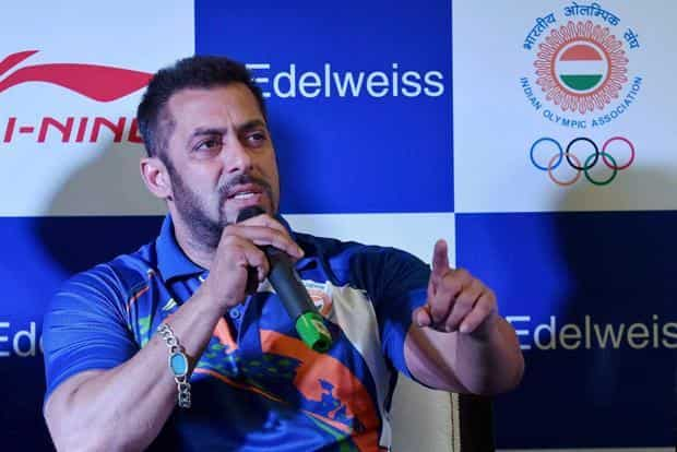 Actor Salman Khan speaks during a function where he was announced as goodwill ambassador of the Indian contingent for Rio Olympics 2016 in New Delhi on Saturday. Photo: PTI