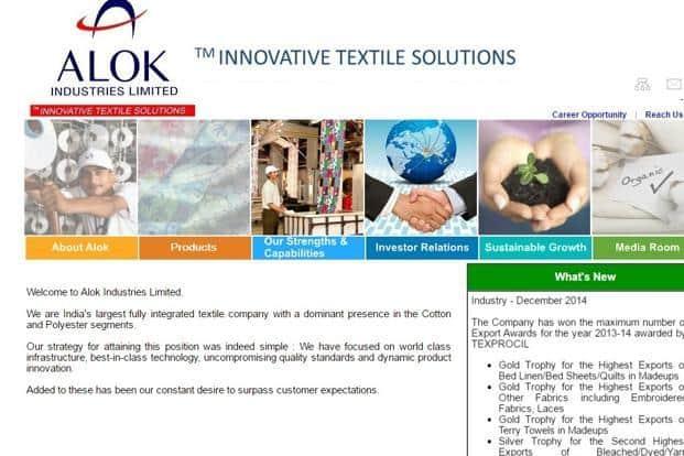 A screen grab of Alok Industries Ltd website.