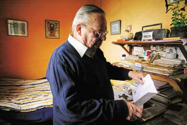 The famous author Ruskin Bond at his Mussoorie house. Photo: Javeed Shah/Mint