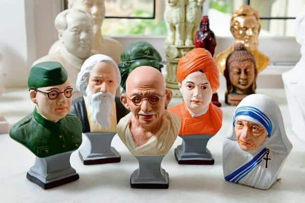 Subhas Chandra Bose, Mao Tse-Tung, Ho Chi Minh, Rabindranath Tagore, Mahatma Gandhi, Swami Vivekananda and Mother Teresa. Photographs by Hemant Mishra/Mint