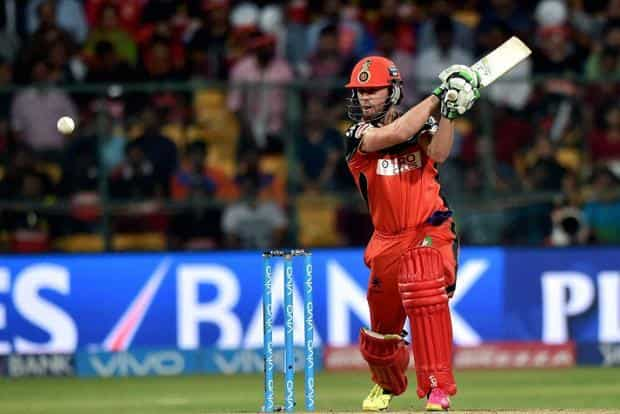 Royal Challengers Bangalore's AB De Villiers plays a shot during the 1st qualifier IPL 2016 match against Gujarat Lions at Chinnaswamy Stadium in Bengaluru on Tuesday. Photo: PTI