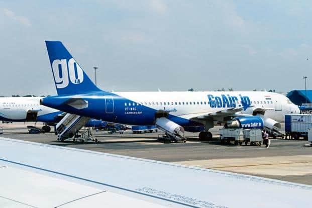 A file photo of a GoAir plane at IGI airport. Photo: Ramesh Pathania/Mint