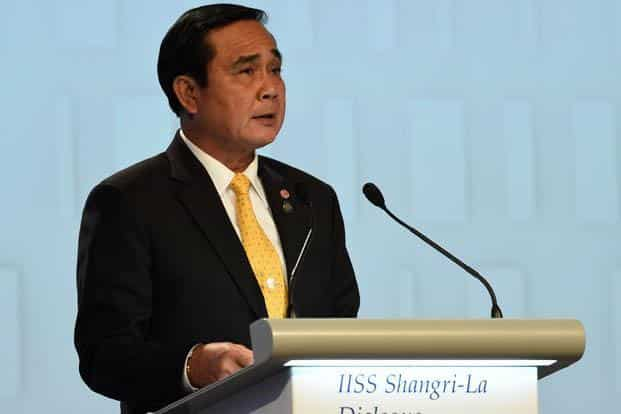 A file photo of Thai Prime Minister Prayut Chan-O-Cha at IISS Shangri-La Dialogue in Singapore on 3 June 2016. Photo: AFP