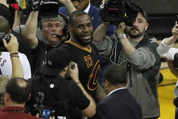 LeBron James (23) after the 93-89 victory against Golden State Warriors in game seven of the NBA Finals at Oracle Arena. Photo: Cary Edmondson-USA TODAY Sports via Reuters