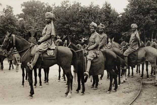 This picture of a post card shows Indian cavalry troops from British colonies in France in 1914 during the First World War. Photo: AFP