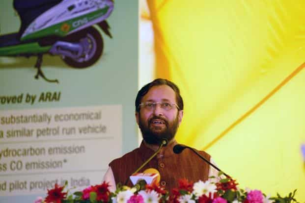Union environment minister Prakash Javadekar speaking at the launch ceremony for the pilot project on CGN-run two wheelers in Delhi on Thursday. Photo: Ramesh Pathania/Mint