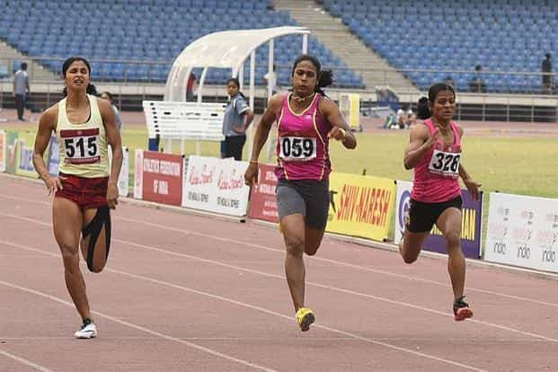 A noteworthy achievement over the run-up to the Olympics has been Dutee Chand (right) qualifying for the women's 100m event and Srabani Nanda (left) qualifying for the 200m. Photo: Sonu Mehta/Hindustan Times