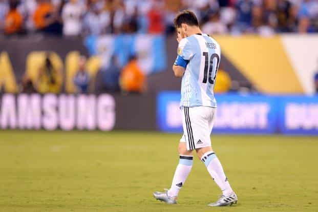 994a97b0b ... Argentina s Lionel Messi after missing a penalty kick in the 2016 Copa  America Centenario final.