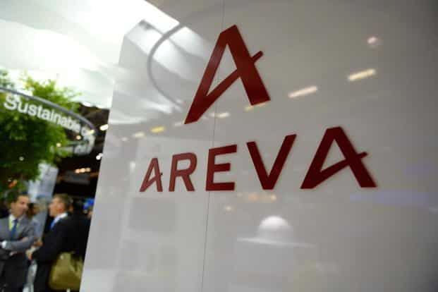 A photo shows the logo of the French nuclear giant Areva during the World Nuclear Exhibition in Le Bourget, near Paris, on June 28, 2016. Photo: Eric Piermont/AFP