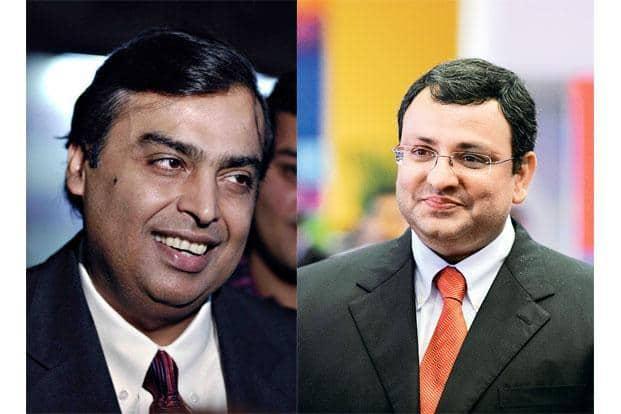 Reliance Industries chairman Mukesh Ambani and Tata Group's Cyrus Mistry.