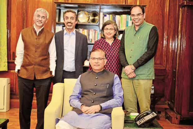 (From left) Rajiv Lall, founder MD and CEO at IDFC Bank; Sandeep Farias, founder and MD at Elevar Equity, LLC; Roopa Kudva, MD at Omidyar Network India Advisors; and Amit Bhatia, founding CEO at IIC, with MoS finance Jayant Sinha (sitting). Photo: Pradeep Gaur/Mint