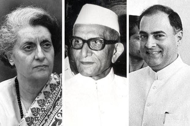 (From left) Indira Ganhi, Morarji Desai and Rajiv Gandhi. Photographs by Hindustan Times