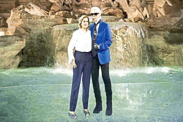 Karl Lagerfeld (right) and Silvia Venturini Fendi.