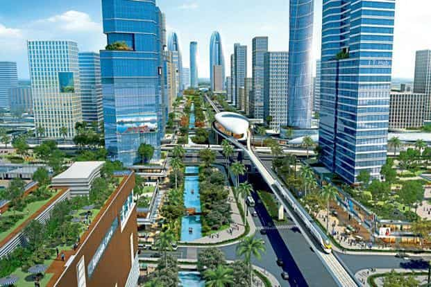 An artist's impression of Amaravati, the Singapore-designed capital of Andhra Pradesh that's taking shape on the banks of the Krishna river.