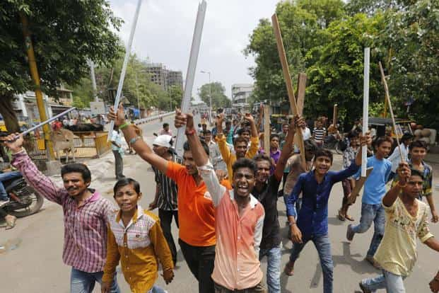Members of Dalit community protesting the Una Dalit attacks in Ahmedabad on Wednesday. Photo: AP