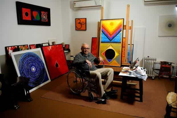 A file photo of Syed Haider Raza. Despite his move towards abstraction, and later, towards tantrism, Raza never abandoned his primary genre—landscape. Photo: Pradeep Gaur/Mint
