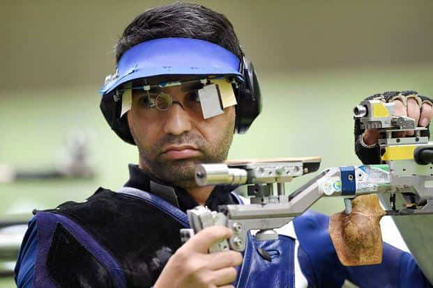 Abhinav Bindra in the Men's 10m Air Rifle event at Rio Olympics 2016 at Rio de Janeiro. Photo: PTI