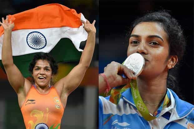 Grappler Sakshi Malik (left) won the bronze in wrestling while PV Sindhu clinched silver in badminton, the only medals that India has so far won at Rio Olympics. Photo: AP & PTI