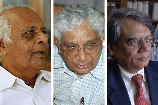 (From left) Ashok Desai, Deepak Nayyar and Rakesh Mohan. Photos by Hindustan Times and Abhijit Bhatlekar/Mint