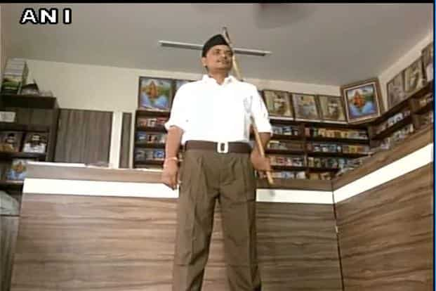 Around 2 lakh full pants have already reached offices of organisation in various states that is being provided to all its members. Photo: ANI/Twitter