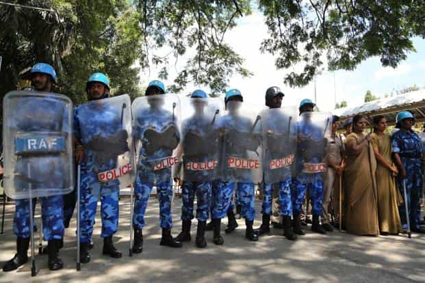 Thousands of police personnel, including armed reserve forces, have been deployed across Tamil Nadu. Photo: AP