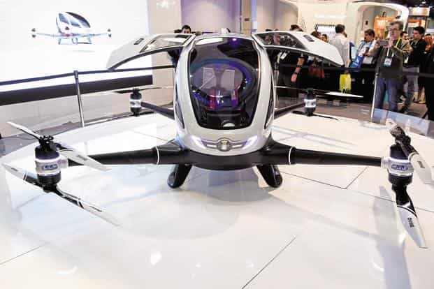 A file photo of the EHang 184 passenger-carrying drone at Consumer Electronics Show (CES) in Las Vegas, Nevada, US. Photo: David Paul Morris/Bloomberg