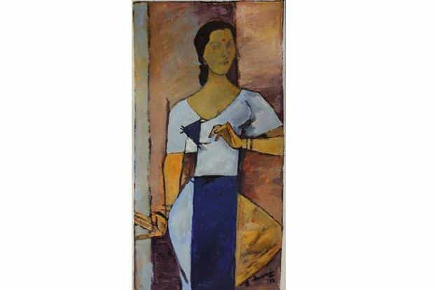 M.F. Husain's 1998 portrait of Indrani Rahman is up for sale at a Christie's auction in October.