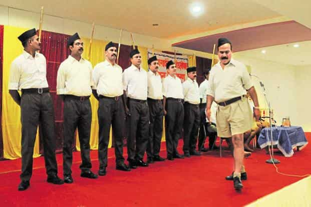 Starting today, the RSS cadre will don dark brown trousers, doing away with the khaki shorts which was a part of their uniform for 90 years. The day, which marks Dussehra, is also the foundation day of the Sangh. Photo: HT