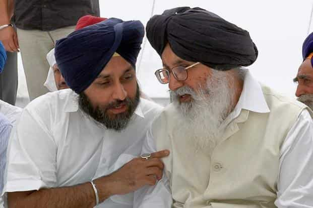 The Congress party workers had planned to burn effigies of Punjab chief minister Parkash Singh Badal (left) and his son and deputy chief minister Sukhbir Singh Badal on Dusshera. Photo: PTI