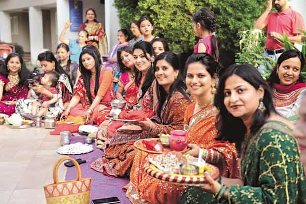5508597510 ... Women are celebrating festivals like Karva Chauth on a larger scale.  Photo: Hemant Mishra