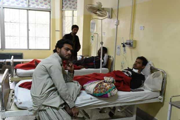 No group immediately claimed responsibility for the attack, but Lashkar-e-Jhangvi, who has a history of carrying out sectarian attacks in Baluchistan, particularly against the minority Hazara Shias, is suspected to be behind the incident. (Above) The victims at a hospital in Quetta on Tuesday. AFP