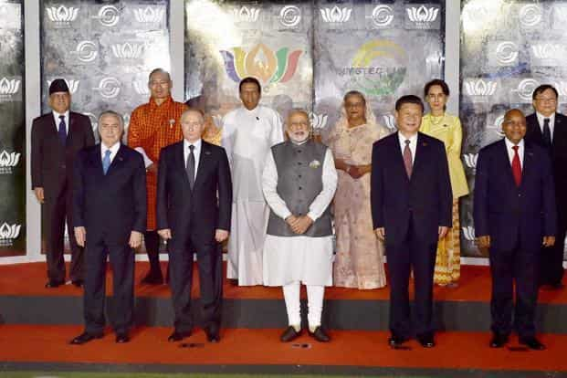 Prime Minister Narendra Modi along with Brics and Bimstec leaders pose for a group photo during the Brics Summits in Goa. Photo: PTI