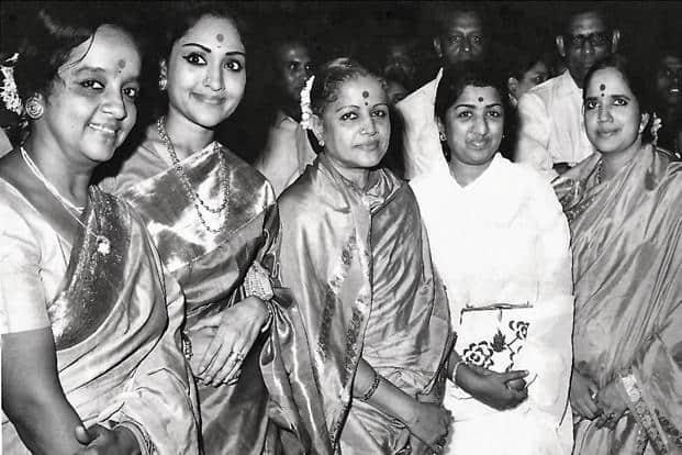 Subbulakshmi with singer Lakshmi Shankar (from left), actor-dancer Vyjayanthimala Bali, Lata Mangeshkar and daughter Radha Vishwanathan, in 1994 in Chennai.