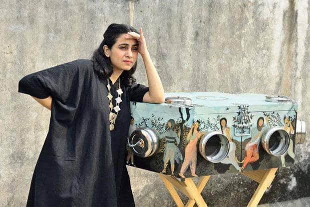 Baaraan Ijlal with the sound and video installation'Birdbox'. Photo: Priyanka Parashar/Mint